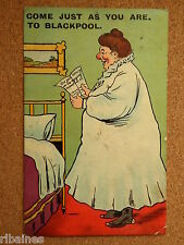 R&L Postcard: 'Come Just As You Are To Blackpool' Big Women in Nightdress,  1909