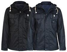Crosshatch Men's Forlocks Light Hooded Cotton Jacket Coat S Small Black & Navy