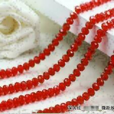 Hot New 4mm 72pcs Faceted Rondelle Bicone Crystal Jewelry Beads red