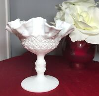 """Fenton OVG Olde Virginia White Milk Glass Ruffled Compote Diamond Quilted 6"""" NEW"""