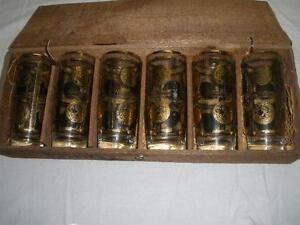 RETRO VINTAGE HAND MADE KAARU  DRINK GLASSES X 6 IN WOODEN BOX NEW ZEALAND