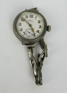 WW1 Officers Silver Cased Waltham Trench Watch, Hallmarked Birmingham 1915