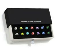 7 Pack Birthstones Set Stud Earring with Swarovski Crystal 18K White Gold Plated