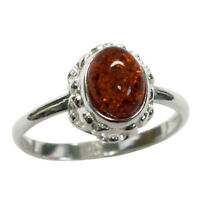 WONDERFUL NATURAL BALTIC AMBER 925 STERLING SILVER RING SIZE 5-10