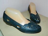 Rieker Antistress navy leather slip on low heels shoes uk 5 eur 38 * VGC