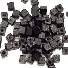 Lot de 100 Perles Cubes en Bois 6mm Noir