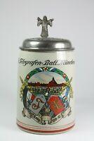Bierkrug Steinkrug 0,5 l Königlich bayerisches Telegrafen-Batl. München 2 Komp.