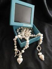 Vintage necklace & bracelet pearl & heart set with t bar fastening