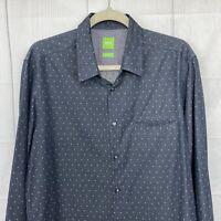 HUGO BOSS Men's L  Dress Shirt Regular Shirt Gray White Dots Long Sleeve #i