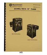 """Rockwell 18""""x 6"""" Planer 22-200 thru 22-251 Op & Parts List Manual Jun 1970 #1451"""