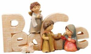 Xmas Nativity Set PEACE Small Holy Family Figures Multicolour Xmas Decoration