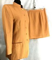 Doncaster Womens 3 Piece Viscose & Silk Gold Pant Skirt and Jacket Suit Sz 6