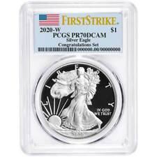 2020-W Proof $1 American Silver Eagle Congratulations Set PCGS PR70DCAM FS Flag