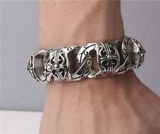 【from USA】Rocker Biker Floral Cross Men Jewelry Stainless Steel Bracelet Chain