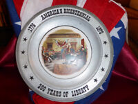 Pewter Plate 1976 America's Bicentennial Charger 1776-1976 200yrs Art China Co