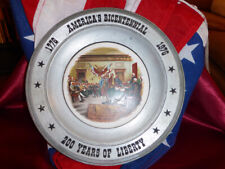 1976 America's Bicentennial Pewter Plate / Charger 1776-1976 200yrs Art China Co