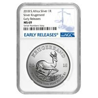2018 South Africa 1 oz Silver Krugerrand NGC MS 69 Early Releases