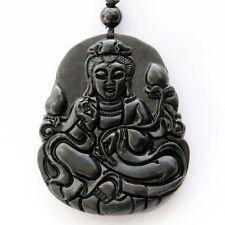 Guanyin Kwanyin Bodhisattva Tibet Buddhist Amulet Black Green Jade Pendant