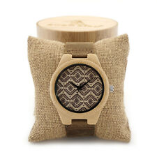 Bamboo Wooden Watches Japan Movement Quartz Watch Leather Band Wood Mens Watch