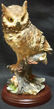 """PERCHED    Owl Sitting on Limb   statue figure   H13"""""""
