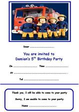 PERSONALISED FIREMAN SAM PARTY INVITATIONS x 10