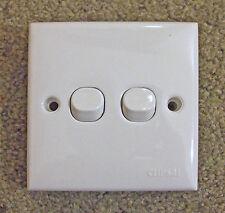 CLIPSAL  Square double light switch, White   2way,   E32/2/3SA