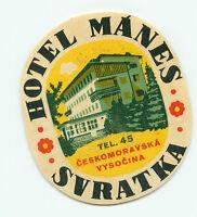 SVRATKA CZECHOSLOVAKIA CZECH REPUBLIC HOTEL MANES VINTAGE LUGGAGE LABEL