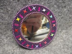 """Handcrafted Made In India 3"""" Round Travel Cosmetic Purse Mirror Beaded Design"""