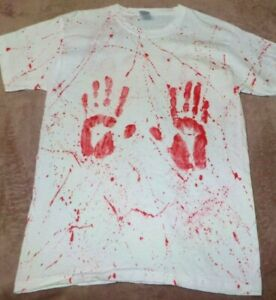 """Mens 100% cotton T-shirt - """"Bloody Hands"""" size Small, new. Great for Halloween."""