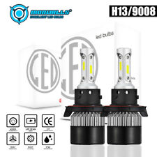 Pair H13 9008 1800W 270000LM COB LED Headlight Bulb Kit Hi/Lo Beam 6000K White