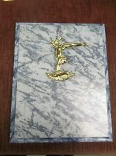 female gymnastics award 8 x 10 blue plaque trophy cast relief balance beam