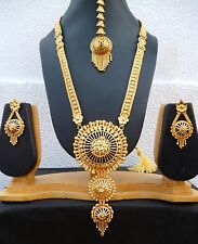 22K Gold Plated Designer Indian Wedding 11'' Long Necklace Earrings Tikka set n.