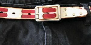 Vintage Red & White Leather Fashion BELT M Silver tone buckle & studs