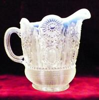 Northwood Jewel & Flower Creamer White Opalescent Early American Pattern Glass