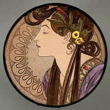 Mucha Laurel glass painting, kilnfired stained glass, Mucha suncatcher, Mucha