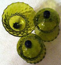 Homco Home Interiors Green Votives Set of 3 Candle Holders Diamond Pattern Vintg