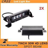 2X 7inch 30W 4D Cree LED Slim Single Row Light Bar Spot Lamp Truck UTV 4WD Ford