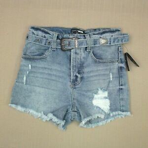 Fashion Nova Belted Cut Off Jean Shorts Junior's Sz 1 / 25 Distressed Denim NWT