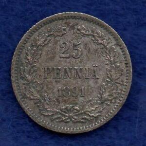 Finland, 1891 25 Pennia, Scarce & Better Grade (Ref. c7787)