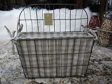 New Multi functional Wire Basket w/Taupe*Cream Checkered Gingham Removable Liner