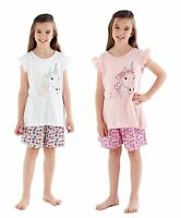 Girls Floral Unicorn Summer Shorts Pyjama Set ~ 5-12 Years