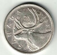 CANADA 1938 25 CENTS QUARTER KING GEORGE VI CANADIAN SILVER COIN