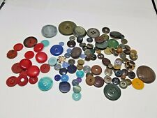 Lot of Vintage Buttons Reds, Browns, Blues, Green Yellow for Crafts