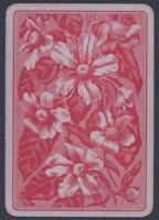 Playing Cards 1 Single Card Old Antique Wide PURPLE FLOWERS Artist Art Design