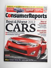 2012 CARS Consumer Reports Magazine, Best & Worst New & Used Cars Trucks SUV