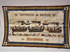 "Bayeux Navigio Duke William's Ships Embark Normandy Tapestry 28"" X 18"" French"