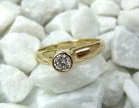 Gr 48 * 585 14kt Gelbgold Solitär 0,15ct VVS/W Diamant Brillant Goldring