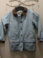 LL Bean Womens Light blue  Corduroy Collar Lined Barn Field Coat  SZ LGE 0BGX4