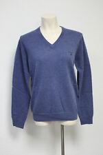 GANT Pullover Lammwolle V-Neck Blau Melange Gr. S