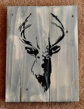 Handmade Reclaimed Pallet Sign Stag Wildlife Driftwood Theme A4 Size Wall Plaque